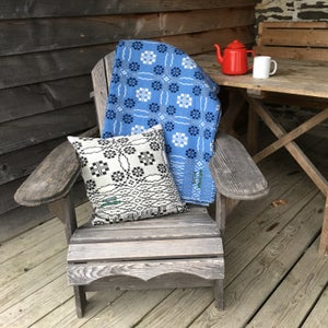 Image of Welsh Wool coldatnight Blanket in haf/summer blue