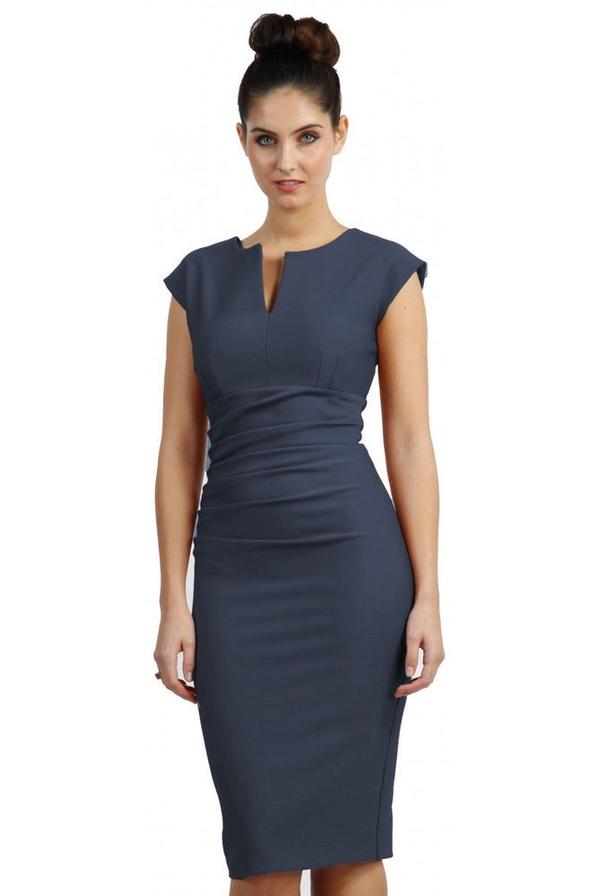 Image of Couture Bodycon Dress Sleeveless Slate Grey
