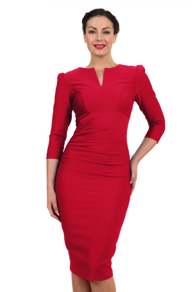 Image of Couture Bodycon Dress Long sleeve Salsa Red
