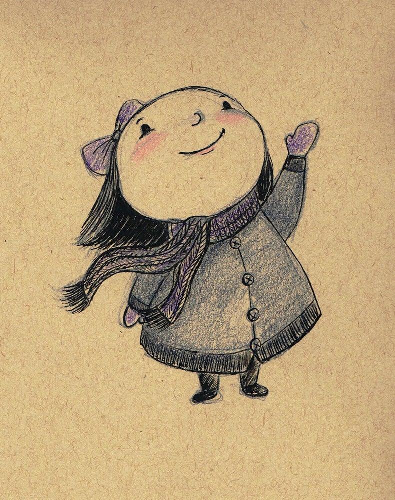 Image of BUNDLED UP - Original pencil and ink illustration
