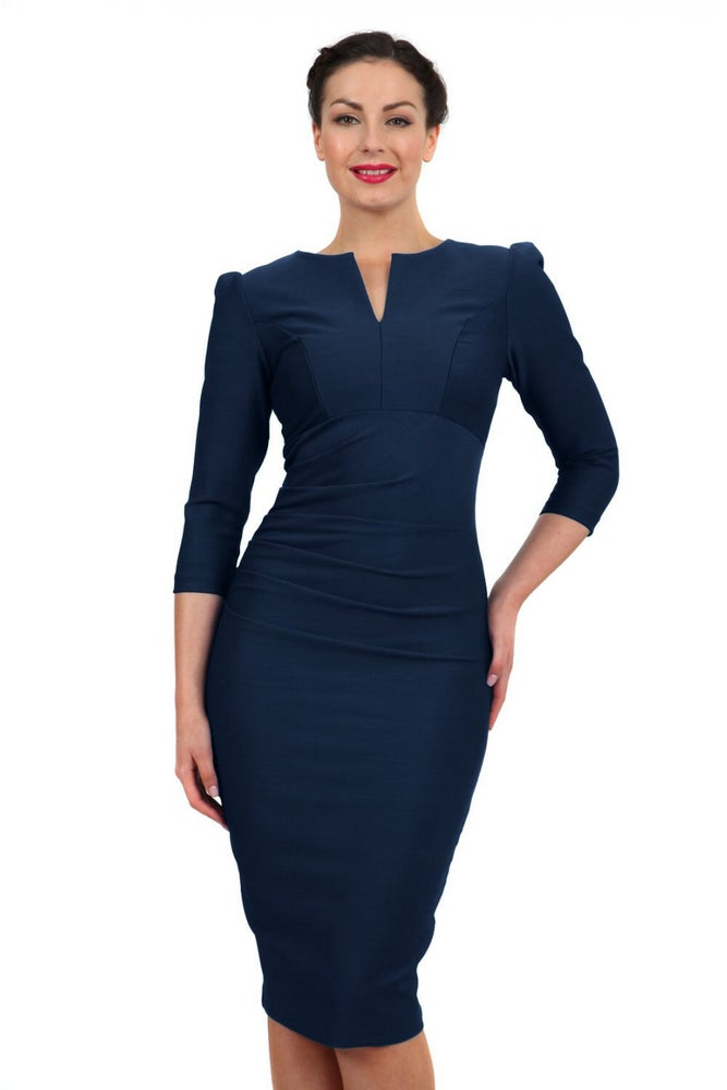 Image of Couture Bodycon Long Sleeve Dress Navy Blue