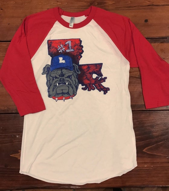 Image of Adult LA Dog 3/4 Length Baseball Tee
