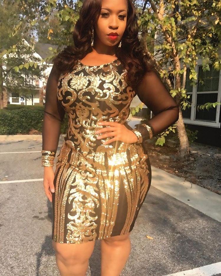 Image of Golden Sequins Dress