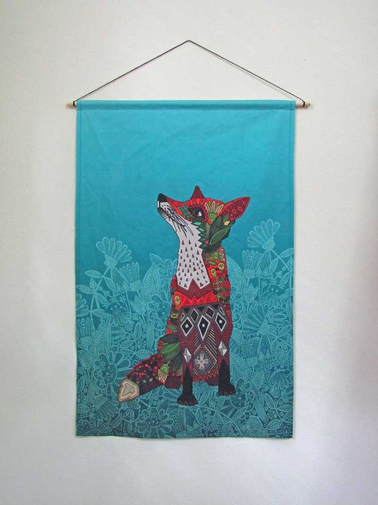 Fox Fabric Wall Hanging Linen Cotton Canvas Seven Sages