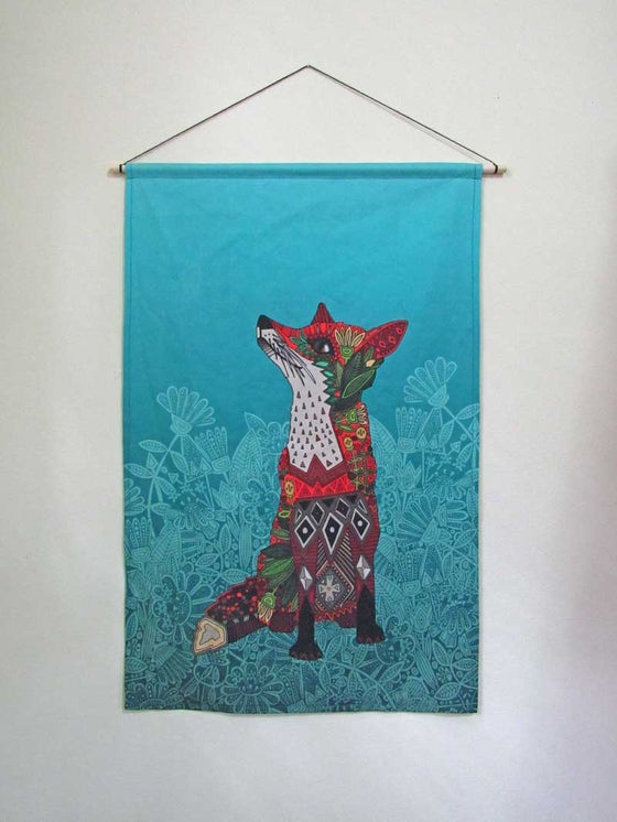 Image of Fox Fabric Wall Hanging Linen Cotton Canvas