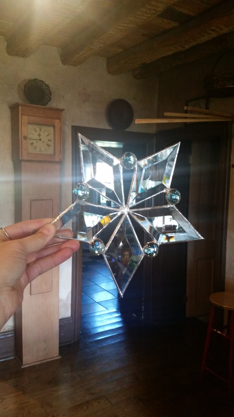 Image of Lg. Bevel & Gem Snowflake - stained glass