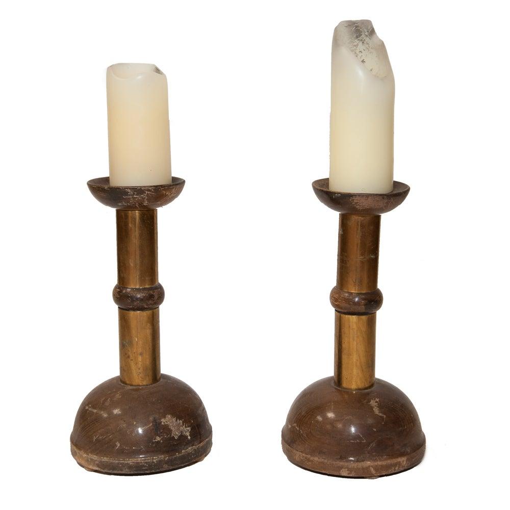 Image of Wood & Brass Candlesticks