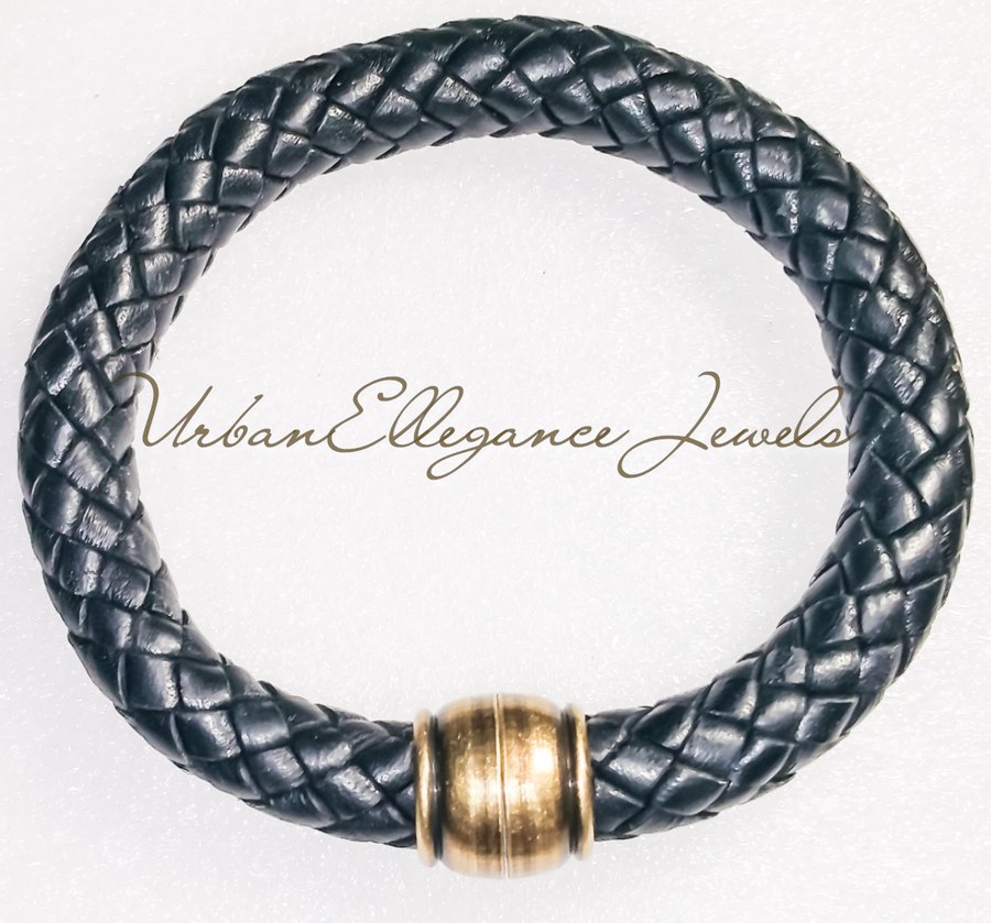 Image of Unisex Braided Leather Bangle
