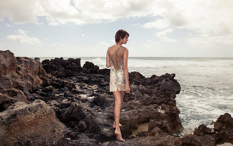 Image of Short Silk Dress with Fishnet Trimmings