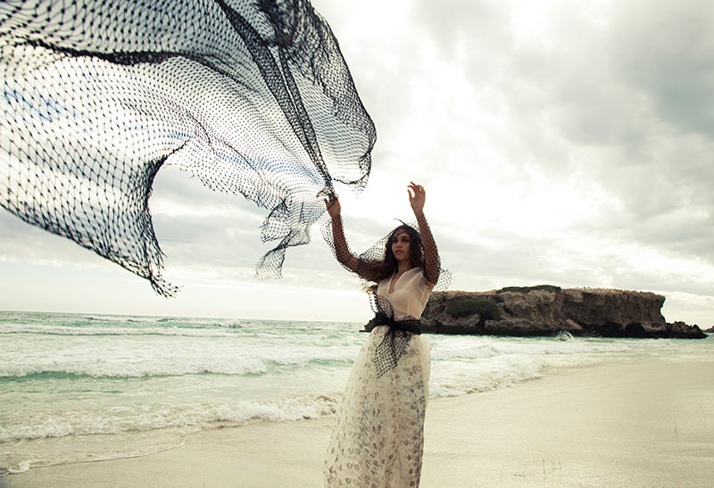 Image of Silk Organza Gown with Fishnet