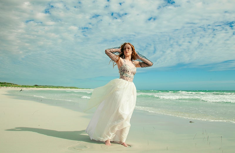 Image of Silk Organza Gown with Halter Neck