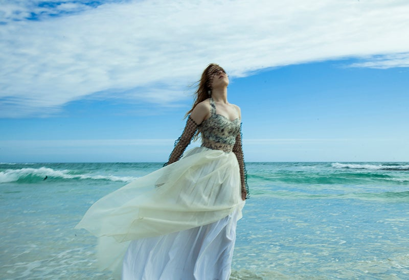 Image of Silk Organza Gown with Fishnet Sleeves