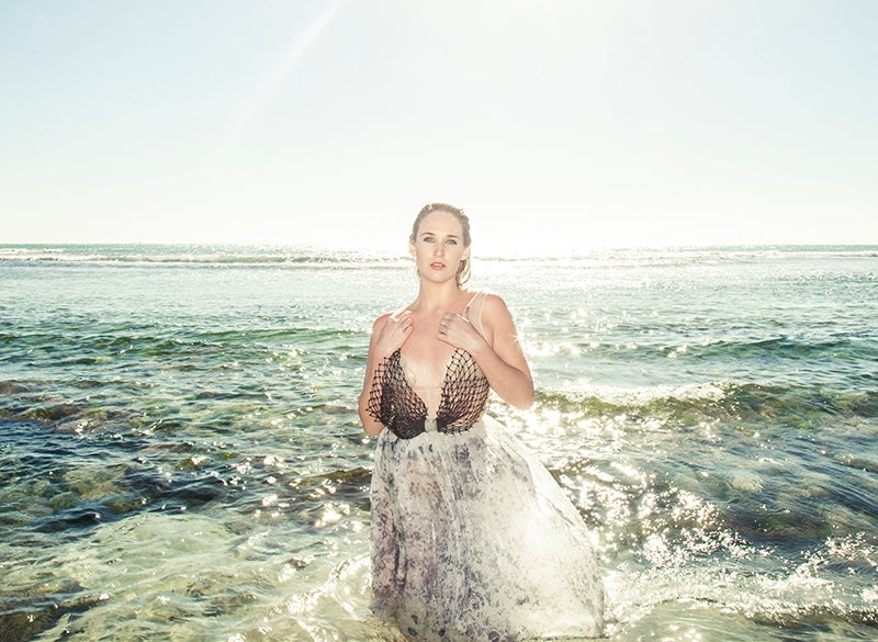 Image of Silk Organza Gown with Upcycled Fishing Nets