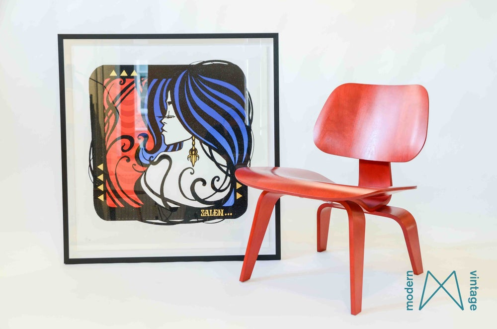 Image of Eames Herman Miller LCW Red Aniline Stained Birch Veneer