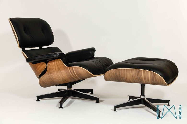 Image of Eames Herman Miller Walnut Lounge Chair XL Ottoman New Europe