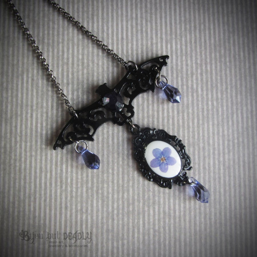 Image of Filigree Bat Forget-me-not Necklace