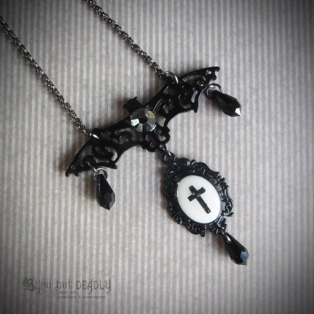Image of Filigree Bat Cross Cameo Necklace