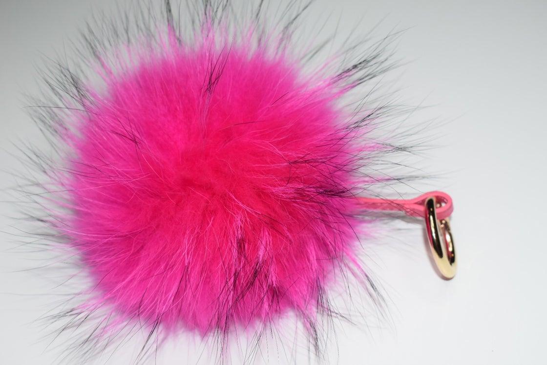 Image of Racoon Fur Pom Pom Keyring