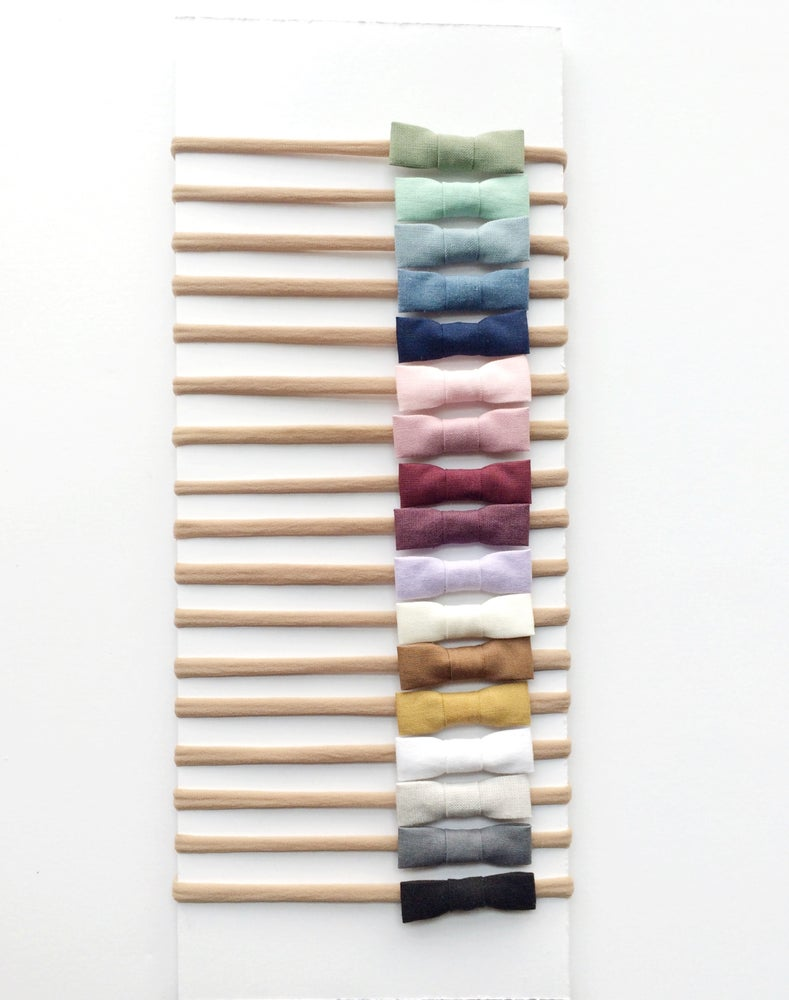 Image of Solid Cotton Bows [Nylon Elastic]