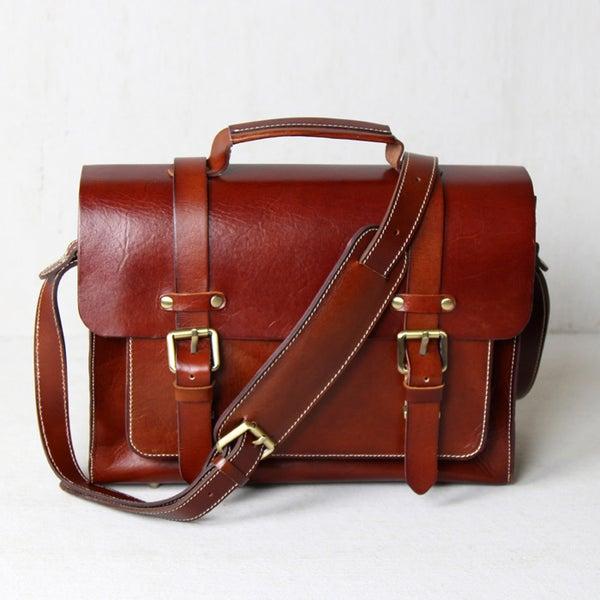 Image of Handmade Vegetable Tanned Leather Briefcase / Messenger Bag (n30)