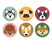Image of Set of 4 Dog Buttons