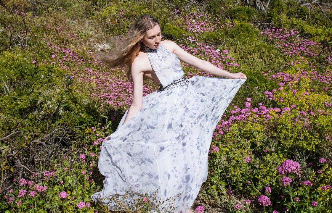 Image of Halter Neck Silk Chiffon Dress