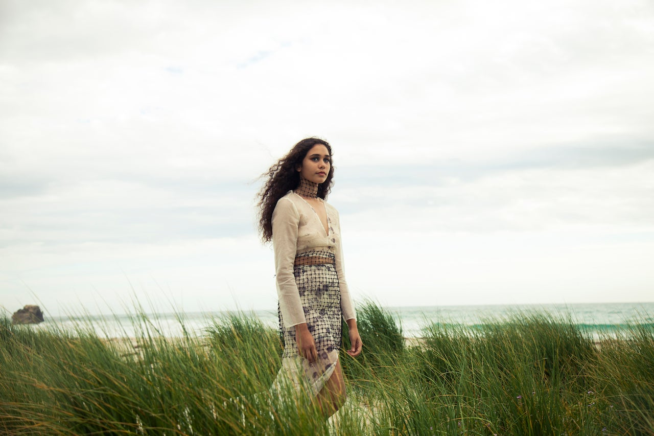 Image of Two-piece Dress with Fishnet Trimmings