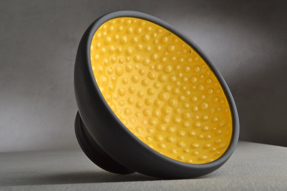 Image of Shaving Bowl Made To Ordered Yellow Black Dottie Shaving Bowl by Symmetrical Pottery