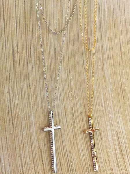Image of Double Layered Cross Necklace