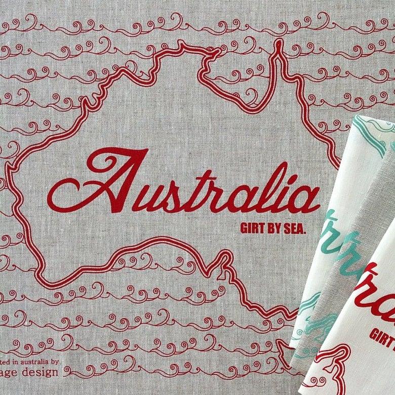 Image of Girt by Sea Tea Towel {assorted colours}