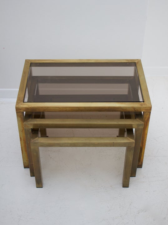 Image of Nest of Tables with Smoked Glass Top