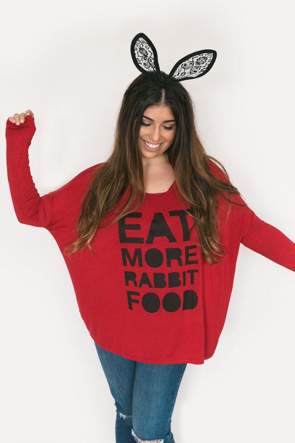 Image of Eat More Rabbit Food Oversized Shirt - Apple
