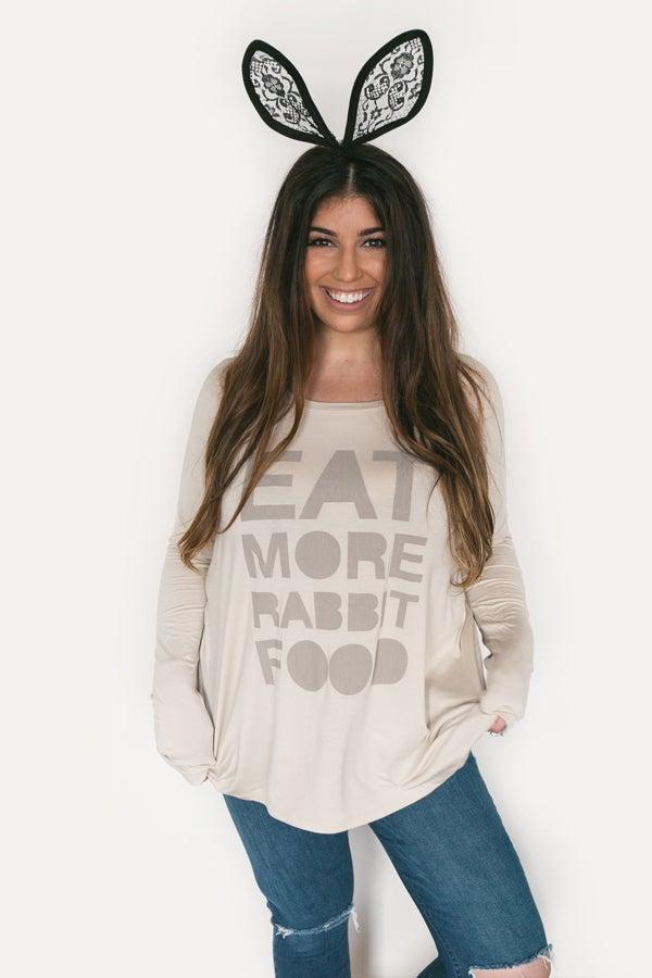Image of Eat More Rabbit Food Oversized Shirt - Sesame