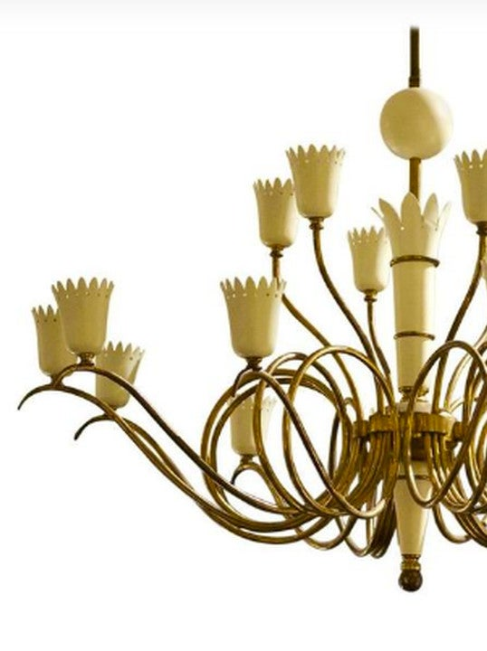 Image of Italian Chandelier with Crown-Shaped Details