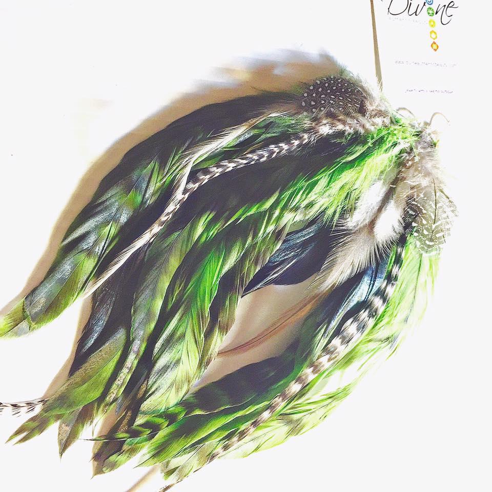 Image of Green Goddess Elvin Fairy Feather Earrings/Custom for Rebecca