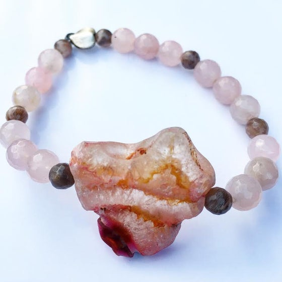 "Image of Love is where you find it   ""Heart Shaped Agate Bracelet"""