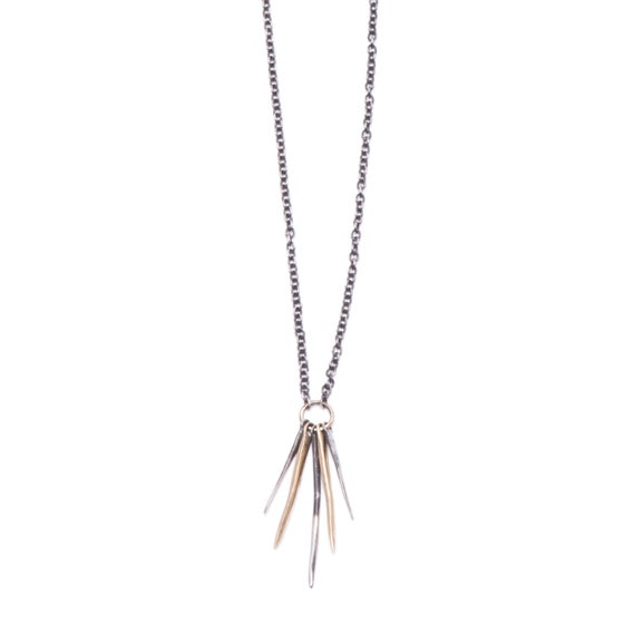 "Image of silver & brass five-spike necklace on adjustable 20""-28"" silver cable-chain (P128silbra2028)"