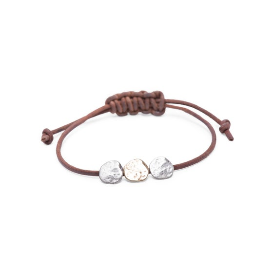 Image of silver & brass Maine three-rock bracelet on adjustable leather (B24silbra)