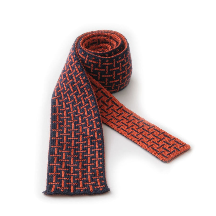 Image of T Cross Tie - Navy x Orange