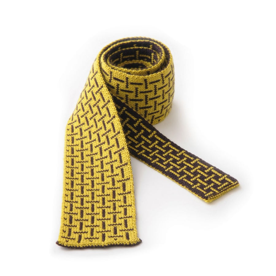 Image of T Cross Tie - Yellow x Chocolate