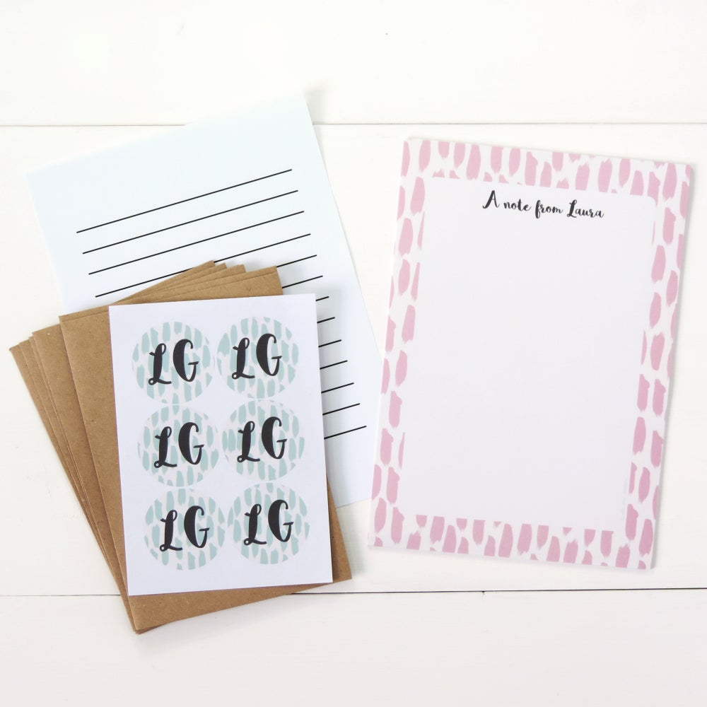 Image of Personalised Letter Writing Set: Brushstrokes Pink