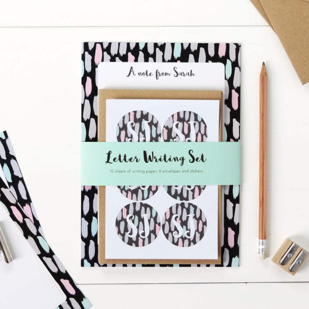 Image of Personalised Letter Writing Set: Painterly Brushstrokes