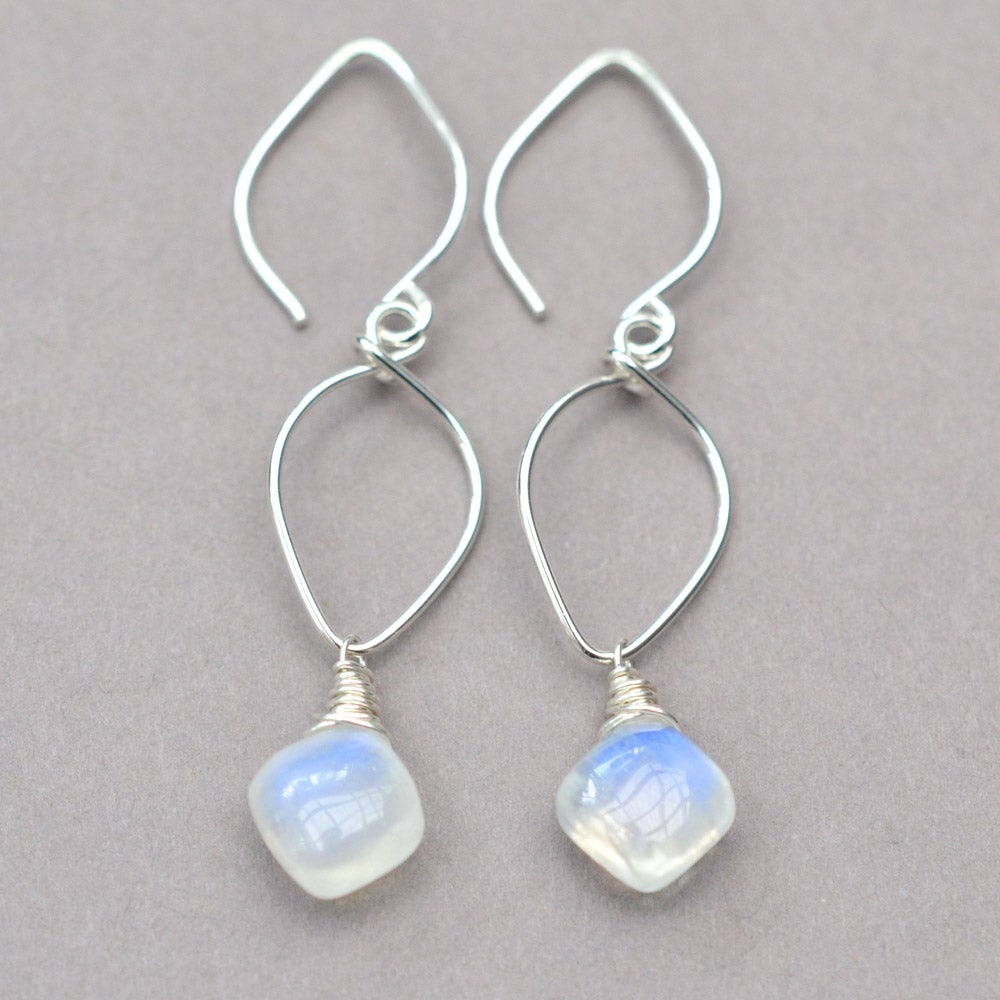 Image of Rainbow moonstone lotus earring sterling silver