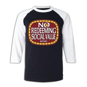 "Image of NO REDEEMING SOCIAL VALUE ""Olde E"" Logo 3/4 Sleeve Jersey"
