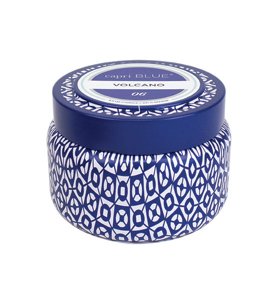 Image of VOLCANO printed Blue & White TRAVEL TIN candle by Capri Blue