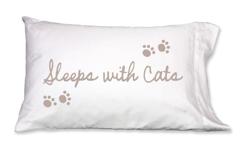 Image of SLEEPS WITH CATS - Pillowcase by Faceplant Dreams
