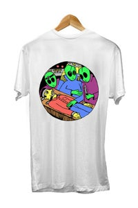 Image of SEND HELP! <br /> GLOW IN THE DARK TEE <br /> WHITE (BACKPRINT SHOWN)