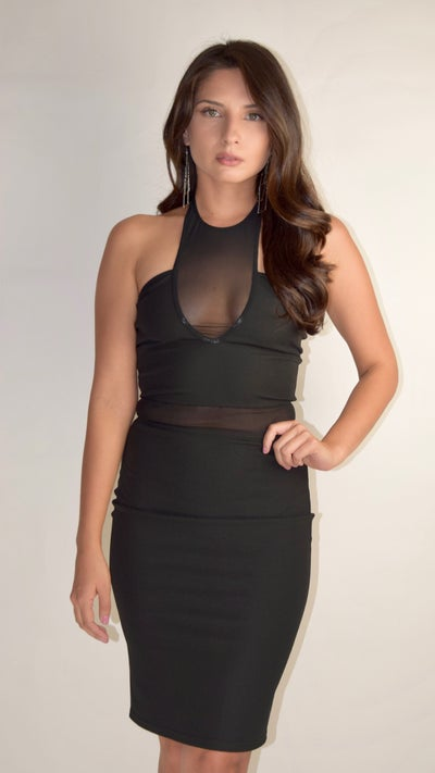 Image of Sexy Mesh Halter Top Evening Dress