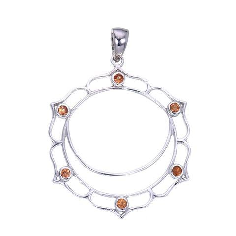 Image of Sterling Silver and Orange Sapphire Swadhisthana Sacral Chakra Pendant
