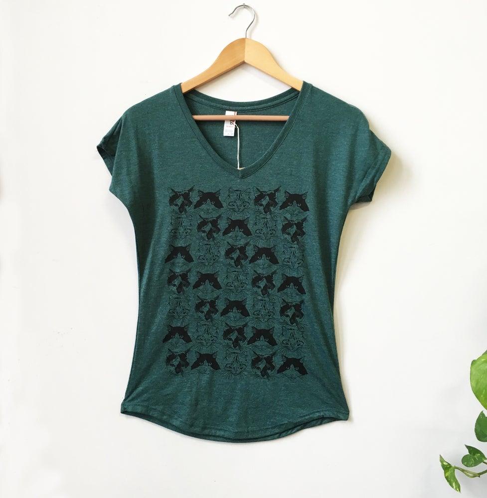 Image of Catmouflage Tee- Ladies V-Neck